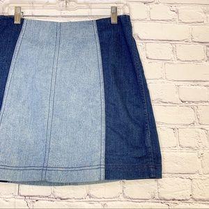 Free People Skirts - Free People | Modern Femme Color Block Jean Skirt